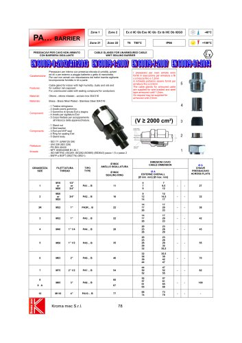 CABLE GLANDS FOR UNARMOURED CABLE WHIT SEALING BARRIER TYPE PA...B