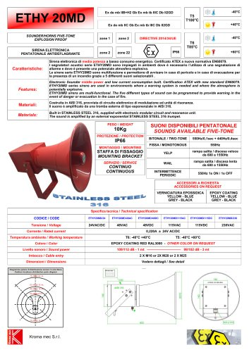 SIRENA ELETTRONICA ETHY Exde mb IIC 109/112 - 1mt SS316