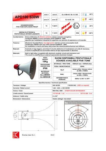 SOUNDER/HORNS EXPLOSION PROOF Exd IIB+H2 117/125 dB - 1 mt