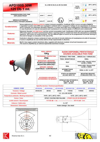 SOUNDERS/HORN APD100 30W Exd IIB+H2 117/125 dB - 1 mt