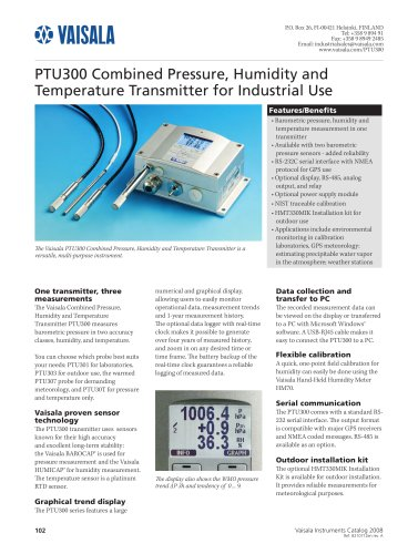 Combined Pressure, Humidity and Temperature Transmitter for Industrial Use