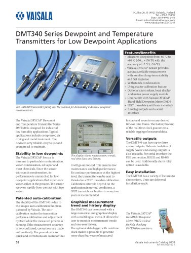 Dewpoint and Temperature Transmitters for Low Dewpoint Applications
