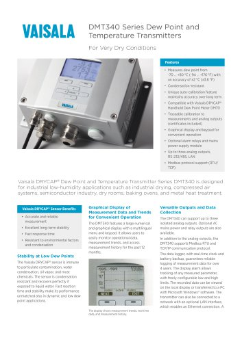 DMT340 Series Dew Point andTemperature Transmitters
