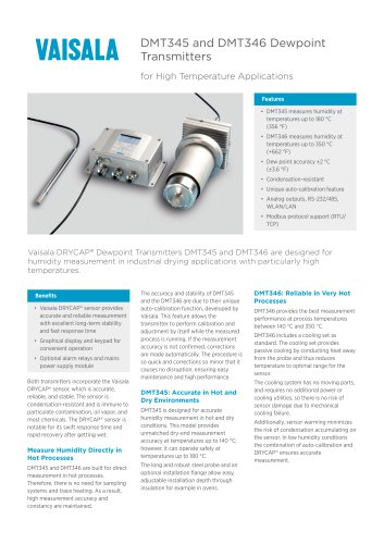 DMT345 and DMT346 DewpointTransmitters