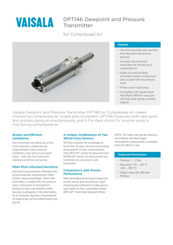 DPT146 Dewpoint and Pressure Transmitter