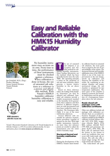 Easy and Reliable Calibration with the HMK15 Humidity Calibrator
