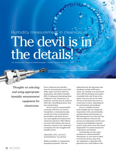 Humidity measurement in cleanrooms: The devil is in the details!