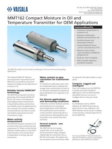 On-Line Moisture in Oil Dection Transmitter MMT162