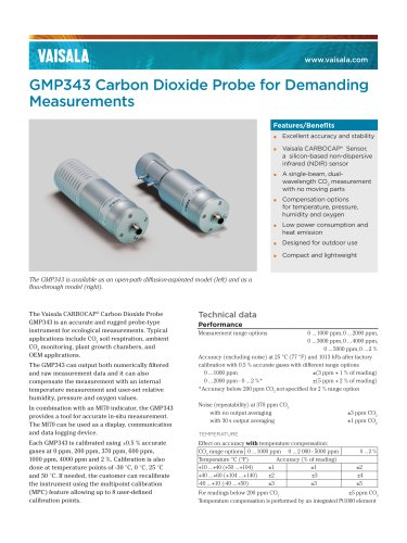 Vaisala CARBOCAP® Carbon Dioxide Probe GMP343