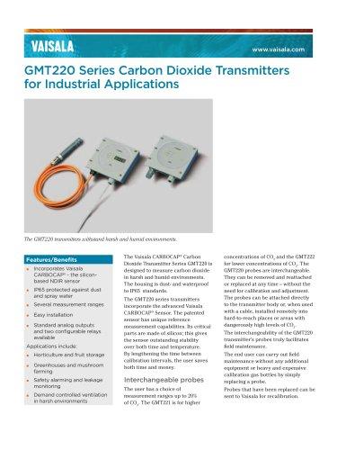 Vaisala CARBOCAP® Carbon Dioxide Transmitter Series GMT220