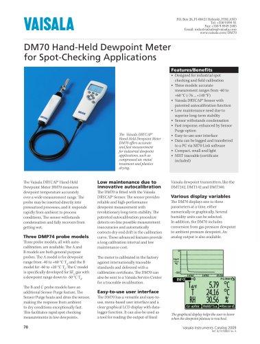 Vaisala DRYCAP® Hand-Held Dewpoint Meter DM70