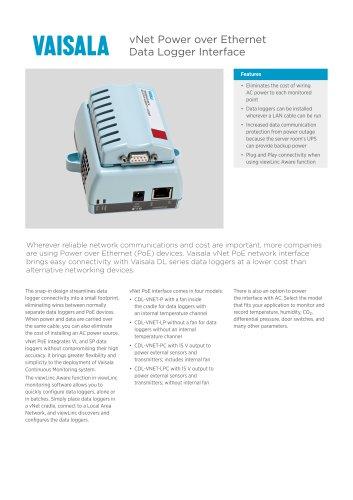 vNet Power over Ethernet Data Logger Interface