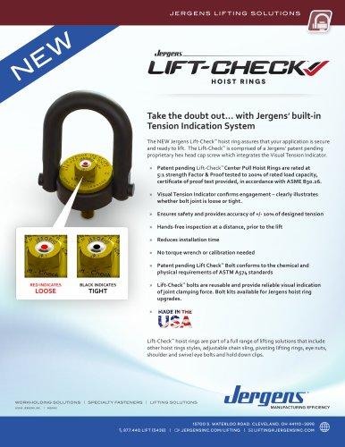 Jergens NEW Lift-Check™ Hoist Ring