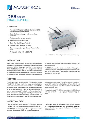 DES Series | Power Supply for WB & PB Dynamometers