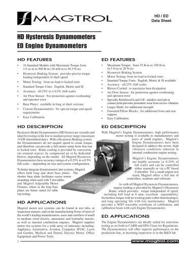 Hysteresis Dynamometers / Engine Dynamometers HD and ED Series