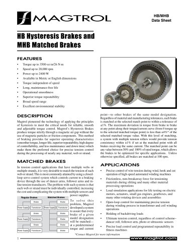 Hysteresis and Matched Hysteresis Brakes HB / MHB Series