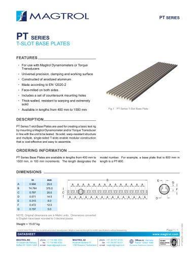 PT Series | T-slot Base Plates