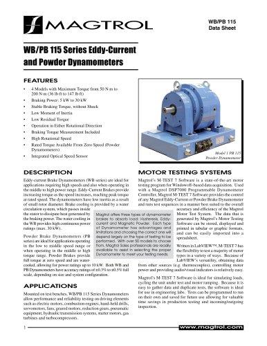 WB/PB 115 Series | Eddy-current & Powder Brake Dynamometers
