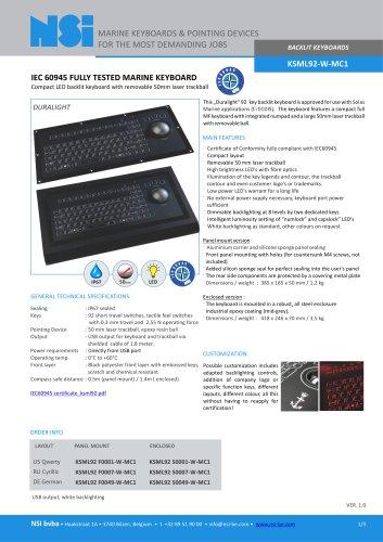 BACKLIT KEYBOARDS KSML92-W-MC1