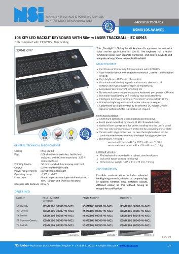 BACKLIT KEYBOARDS KSMX106-W-MC1