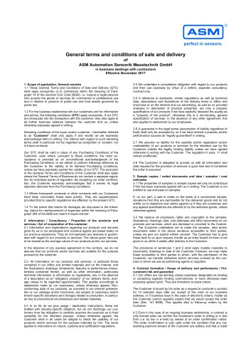 General Terms and Conditions of Deliveries and Orders