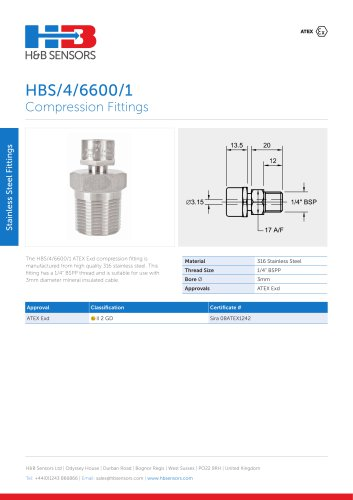 Stainless Steel Fittings HBS-4-6600-1