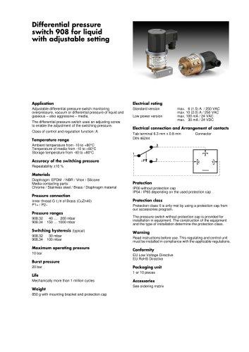 Differential Pressure Switch 908 for Liquids
