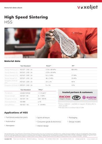 Material data sheet for High Speed Sintering (HSS)