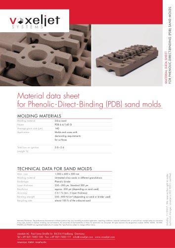 Material data sheet for Phenolic-Direct-Binding (PDB) sand molds