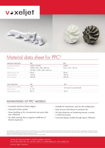 Material data sheet for PPC²