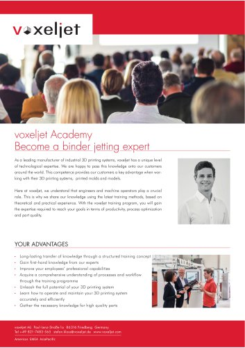 voxeljet Academy Become a binder jetting expert