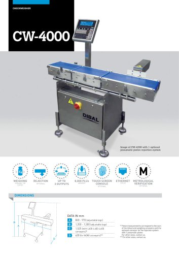 AUTOMATIC CHECKWEIGHERS CW-4000 SERIES