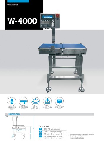 AUTOMATIC CHECKWEIGHERS W-4000 SERIES