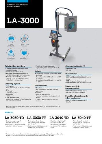 AUTOMATIC LABELLERS LA-3000 SERIES