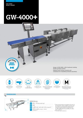 HIGH SPEED AUTOMATIC WEIGHT GRADERS GW-4000+ SERIES