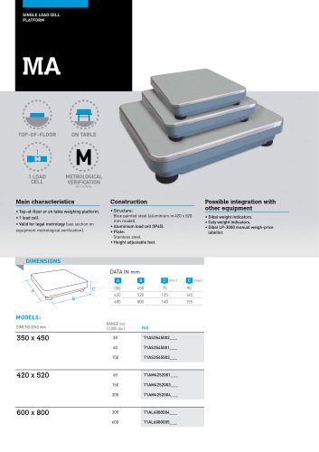 SINGLE LOAD CELL WEIGHING PLATFORMS MA SERIES