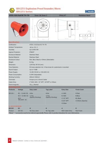 SD1251 Explosion Proof Sounder/Horn