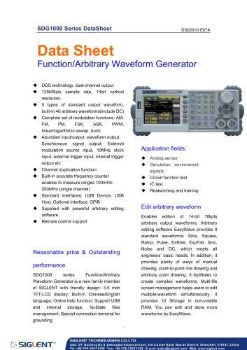 SIGLENT SDG1000 Series Datasheet | function/arbitrary waveform generator