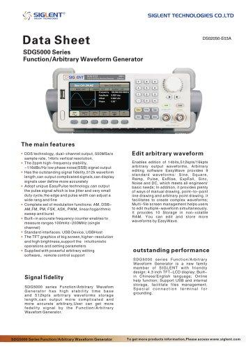 SIGLENT SDG5000 Series Datasheet | function/arbitrary waveform generator | EasyPulse Technology | 160MHz | 500MSa/s