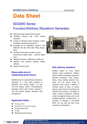 SIGLENT SDG800 series  function/arbitrary waveform generator