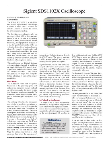 Siglent SDS1102X was highly evaluated on the article of ARRL Magazine QST.