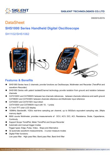 SIGLENT SHS1000 Series+Handheld Oscilloscope