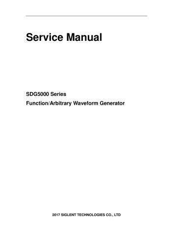 Siglent Waveform Generator SDG5000 Series ServiceManual