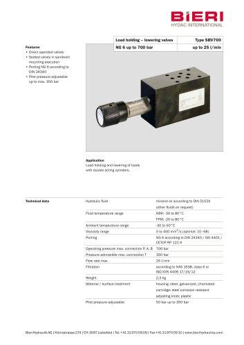 Load holding-lowering valves Type SBV700