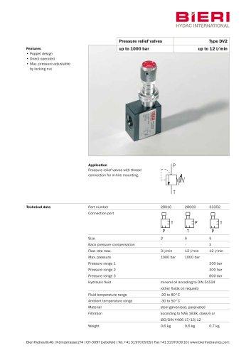 Pressure relief valves DV2