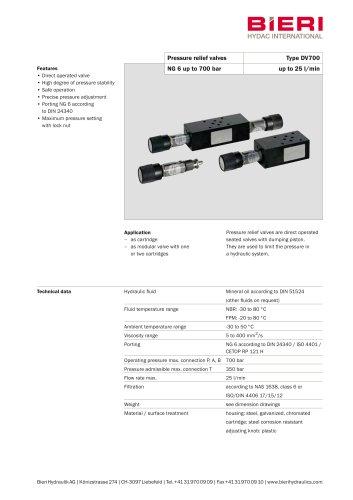 Pressure relief valves Type DV700