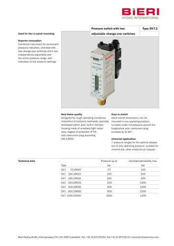 Pressure switches with two adjustable change-over switches