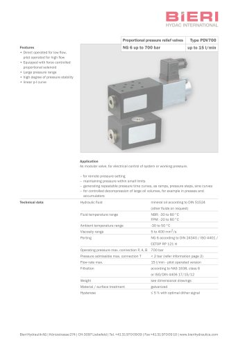 Proportional pressure relief valves Type PDV700