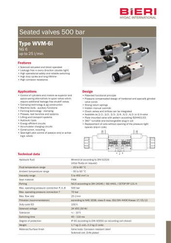Seated valves type WVM-6i