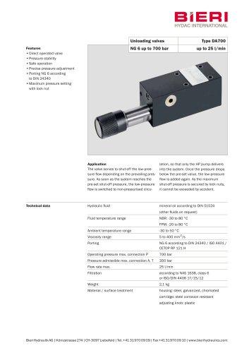 Unloading valves Type DA700